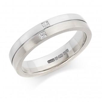 Platinum & 18ct white gold 4mm Ysabelle diamond wedding ring 0.05cts