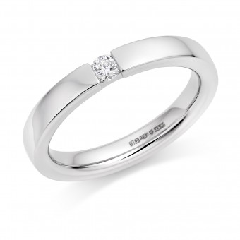Platinum 3mm Fiammetta diamond wedding ring 0.08cts