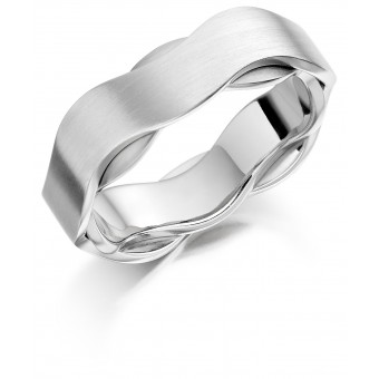 Platinum & 18ct white gold 6.5mm Iniga wedding ring