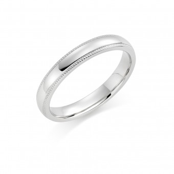 Platinum 3mm Oxford beaded edge wedding ring