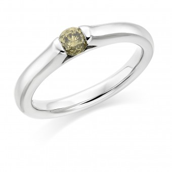 Platinum Eclipse olive coloured diamond solitaire ring 0.32cts