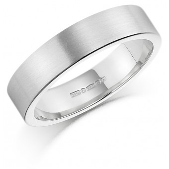 Platinum  brushed finish 5mm Windsor wedding ring.