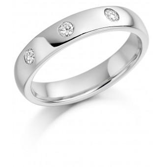 Platinum 4mm Oxford diamond wedding ring 0.08cts