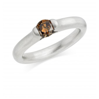 Platinum Eclipse chocolate coloured diamond solitaire ring 0.52cts