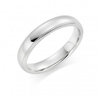 Platinum 4mm Oxford beaded edge wedding ring