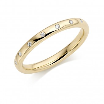 18ct yellow gold 2.5mm Oxford diamond wedding ring 0.07cts