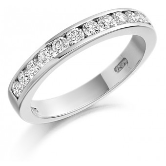 Platinum Alexandra round cut diamond true half eternity ring 0.60cts