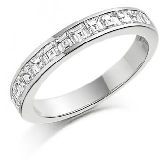 Platinum Alexandra carré cut diamond true half eternity ring 1.22cts