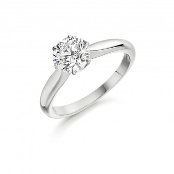 Platinum Caterina round cut diamond solitaire ring 0.91cts