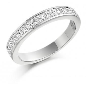Platinum Alexandra princess cut diamond true half eternity ring 0.87cts