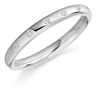 Platinum 2.5mm Oxford diamond wedding ring 0.05cts