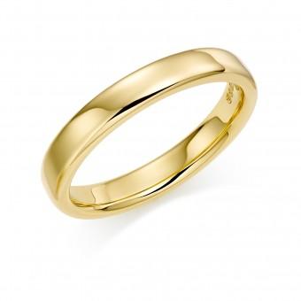 18ct yellow gold 3mm Eton wedding ring.