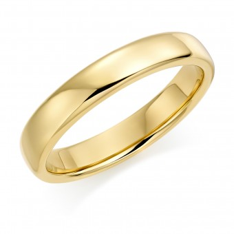 18ct yellow gold 4mm Eton wedding ring.