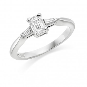 Platinum Tiberia emerald cut diamond ring, diamond shoulders 0.61cts