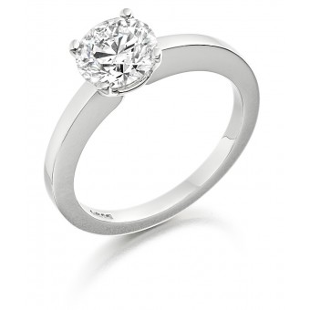 Platinum Geonna round cut diamond solitaire ring 0.92cts