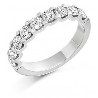 Platinum Sabrina round cut diamond true half eternity ring 1.18cts