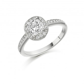Platinum Julietta cushion cut diamond halo ring, diamond shoulders 0.96cts