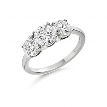 Platinum Grazia round cut diamond three stone ring 1.91cts