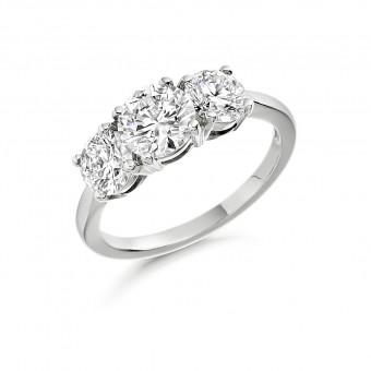 Platinum Grazia round cut diamond three stone ring 0.68cts