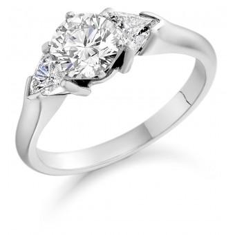Platinum Editta round cut diamond solitaire ring, diamond shoulders 1.22cts