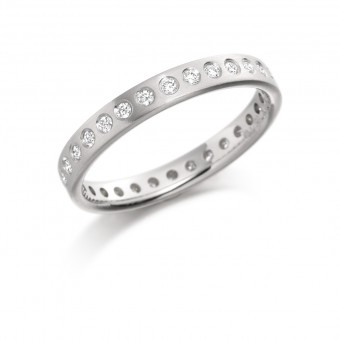 Platinum 3mm Giolla round cut diamond full eternity ring 0.30cts