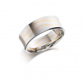 Platinum & 18ct red gold 8mm Tazia wedding ring