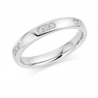 Platinum 3mm Allera diamond wedding ring 0.09cts