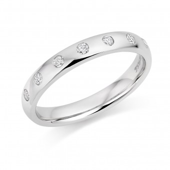 Platinum 3mm Oxford diamond wedding ring 0.16cts