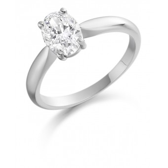 Platinum Alessia oval cut diamond solitaire ring 1.02cts