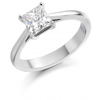 Platinum Cammeo princess cut diamond solitaire ring 1.02cts