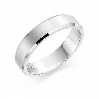 Platinum brushed finish 5mm New Windsor  wedding ring