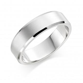 Platinum brushed finish 6mm New Windsor  wedding ring