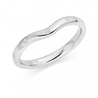 Platinum contoured 2.5mm Oxford diamond wedding ring 0.05cts