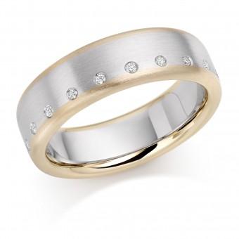 Platinum & 18ct red gold diamond wedding ring 6mm Leonora 0.10cts