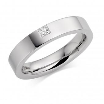 Platinum 4mm Lucia diamond wedding ring 0.08cts