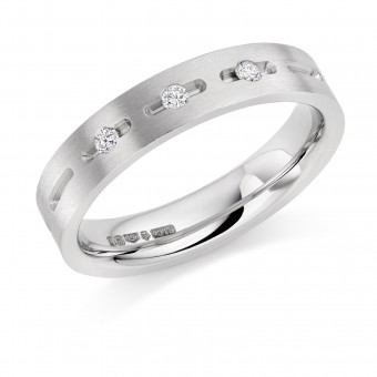 Platinum 4mm Donya diamond wedding ring 0.06cts