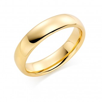 18ct yellow gold 5mm Oxford wedding ring