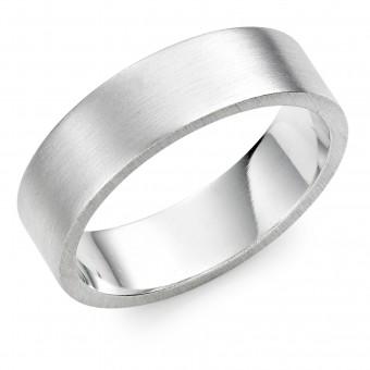 Platinum  brushed finish 6mm Windsor wedding ring.