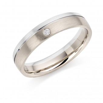 Platinum & 18ct white gold 4mm Zaira diamond wedding ring 0.02cts