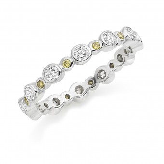 Platinum Rosa yellow and white diamond full eternity ring 0.86cts