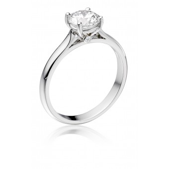 Platinum Duplice round cut diamond solitaire ring 0.34cts