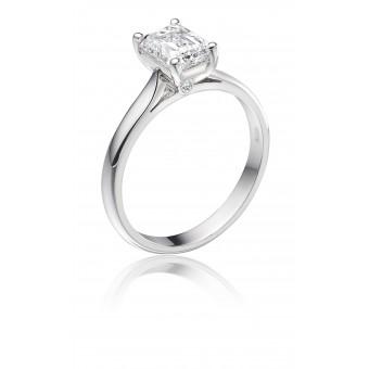 Platinum Duplice emerald cut diamond solitaire ring 0.74cts
