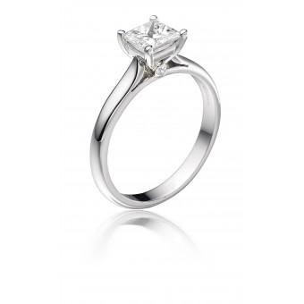 Platinum Duplice princess cut diamond solitaire ring 0.73cts