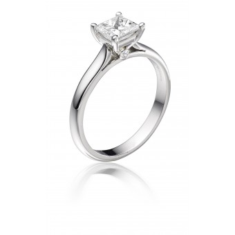 Platinum Duplice princess cut diamond solitaire ring 1.14cts