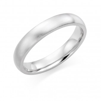 Platinum  brushed finish 4mm Oxford wedding ring