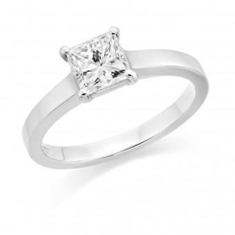 Platinum Calynda princess cut diamond solitaire ring 0.91cts