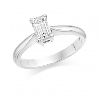 Platinum Fulvia emerald cut diamond solitaire ring 0.36cts
