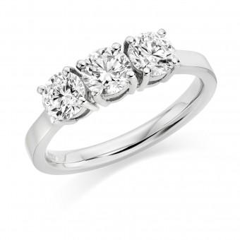 Platinum Arabella round cut diamond trilogy ring 0.98cts