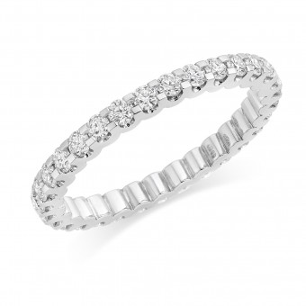 Platinum Sabrina round cut diamond full eternity ring 0.88cts