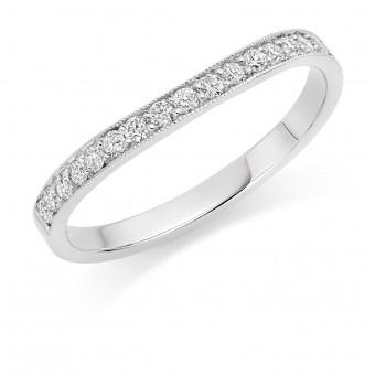 Platinum 2mm contoured Amalia diamond wedding ring 0.25cts